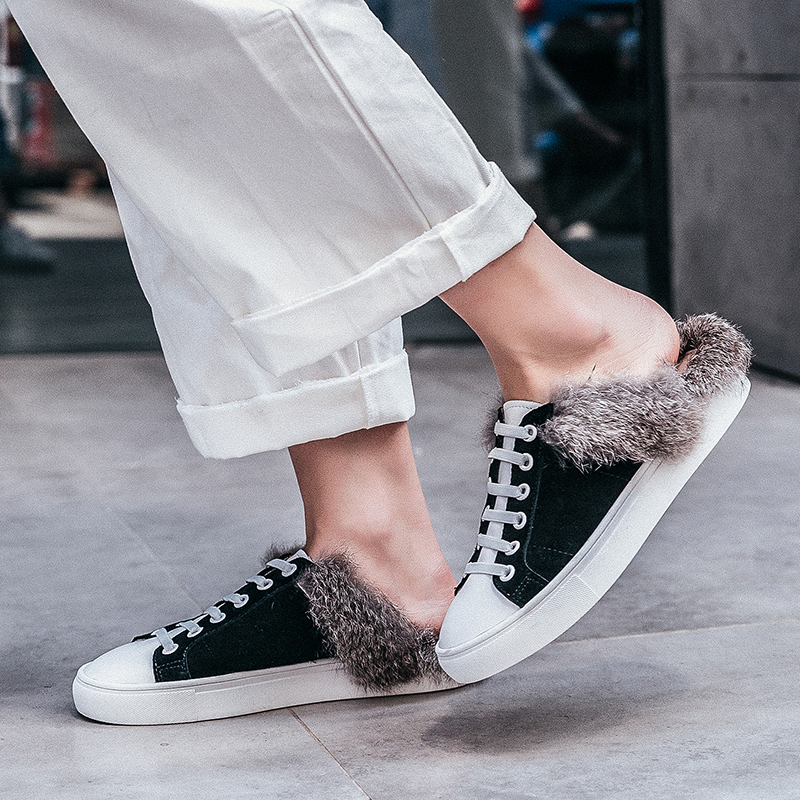 Femmes D'hiver Marque Loisirs Cuir white Black Confort Véritable De Chaussures on Fourrure Femme Designer Appartements Espadrilles Dentelle Slip up Diapositives Lapin En wPwqzf