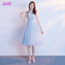 Elegant Light Blue Bridesmaid Dresses Short 2018 Wedding Party Gown Scoop  Tulle Lace Up Tea-Length Bridesmaid Dress Custom Made 70059c99850a
