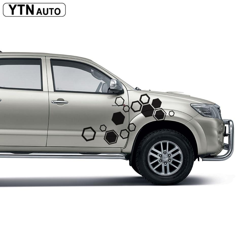 Carro modificado decalques 2 PC hexagon padrão geométrico abstrato traseiro cauda gráfico do vinil personalizado para TOYOTA HILUX VIGO 2011