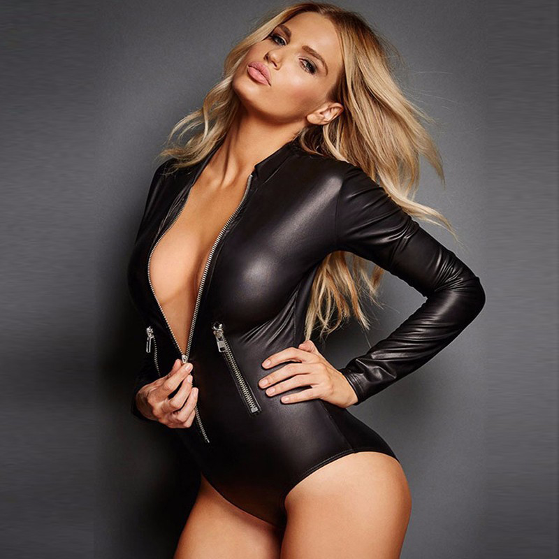 Zipper Wetlook Catsuit For Women 3XL Gothic Faux Leather Bottom Is Closed Short Jumpsuit Costume Long Sleeve Sexy Bodysuit