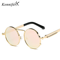 Kennifer Luxury Round Metal Sunglasses Steampunk Men Fashion Glasses Vintage Retro Lentes Oculos Of Male Goggle