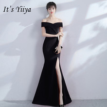 Its YiiYa Elegant Boat Neck Black Mermaid Dresses Vestidos Fashion Sexy Split Trumpet Evening Gowns H033