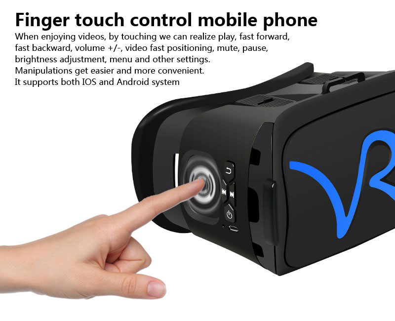 All IN ONE VR Glasses VR CASE RKA1 VR Headset Virtual Reality Glasses for 4-5.8 inches iPhone Mobile 3D IMAX Touch Control Blue 5