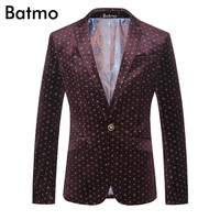 Batmo 2017 new arrival Italian style printed velvet casual blazer men blazer masculin,jacket men plus size M,L,XL,XXL,XXXL