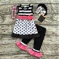 2016 calções de verão meninas sem mangas roupas meninas boutique outfits crianças roupas menina polka dot outifts com acessórios