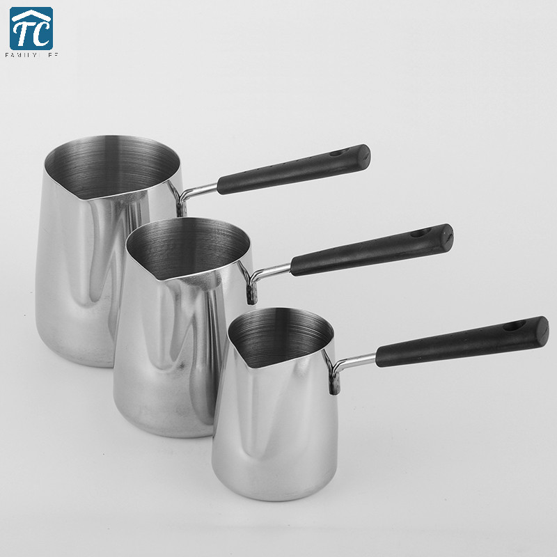 304 Stainless Steel Coffee Cup Long Handle Thick Pot Milk Tip Mouth Frothing Tool Jug Cream Creamer Latte Art Kitchen Cylinder