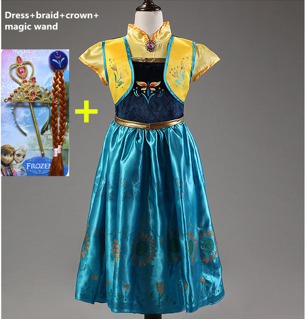 Anna dress 2016 girls costumes diamond princess elsa dress disfraces princesa vestido ana de festa fantasia infantil meninas