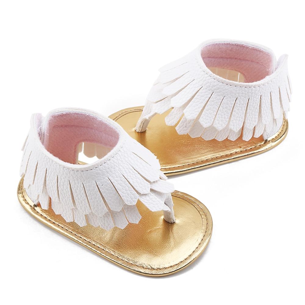 Delebao Summer Baby Sandals For Girls Tassel PU Leather Flat Heel Soft Sole Newborn Baby Boy Girl Shoes Prewalkers Wholesale