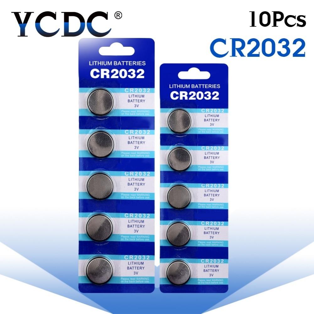 Cheap 10PCS Batterie CR2032 Batteries 2032 3V Lithium Type Button Coin Cell Watch Battery 5004LC ECR2032 DL2032 KCR2032