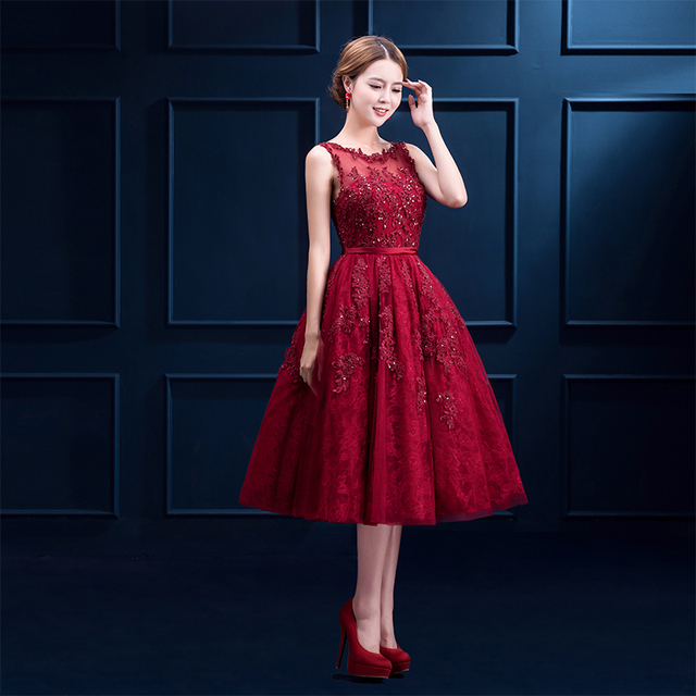 Evening Dress 2016 Prom Dress Red Party Lace Plus Size Tea Length Beading  Sweet Slim Custom Made Bride Dinner Dress 3b252db94fa9