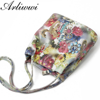 Arliwwi Graceful Lady 100% Real Leather Floral Embossed Shoulder Handbags New Genuine Cow Leather Shiny Flower Messenger Bags