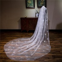 Vivian's Bridal 2018 Sequin 3m Long 1.5m Width Wedding Accessories Shiny With Comb One layer Bridal Cathedral Veil