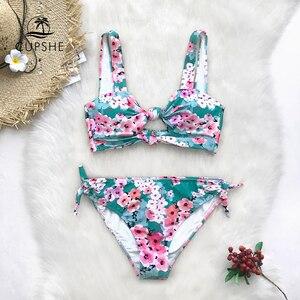 Image 2 - Cupshe Dubbele Knoop Bloemenprint Bikini Sets Vrouwen Sexy Thong Twee Stukken Strand Badpakken 2020 Girl Boho Badmode