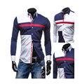 2016 Primavera/Otoño hombres Moda Hit Color Patchwork Manga Larga Slim Fit Camisa de Vestir Formal, Ocasional Superior Masculina Camisas S5729