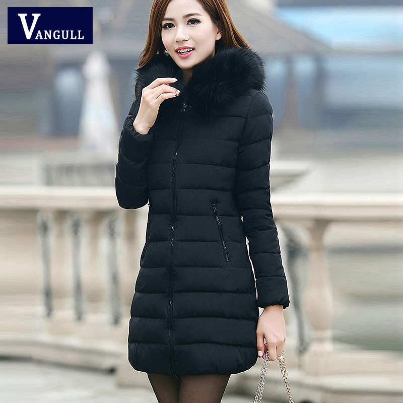 2016 New Fashion Winter Women Thick Casual Down Cotton Parka Long Fur Collar Hooded Coat Jacket Plus Size 5XL Hot sale 2017 new winter women winter women in the long section of thick cotton coat fur collar jacket cold winter jacket size m xxl