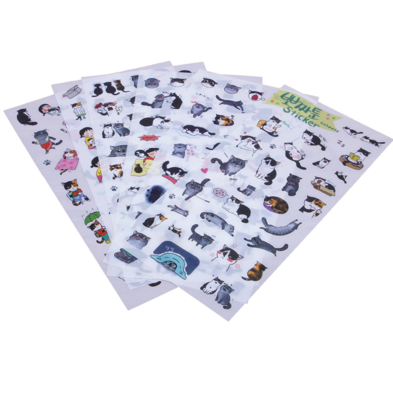 6 Sheets Cute Cat Album Diary Card Calendar Sticker Label Scrapbooking Stickers6 Sheets Cute Cat Album Diary Card Calendar Sticker Label Scrapbooking Stickers
