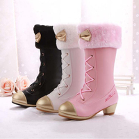 Winter Girls Shoes Kids Snow Boots With High Heels Princess Butterfly Knot Boots Children Platform Shoes