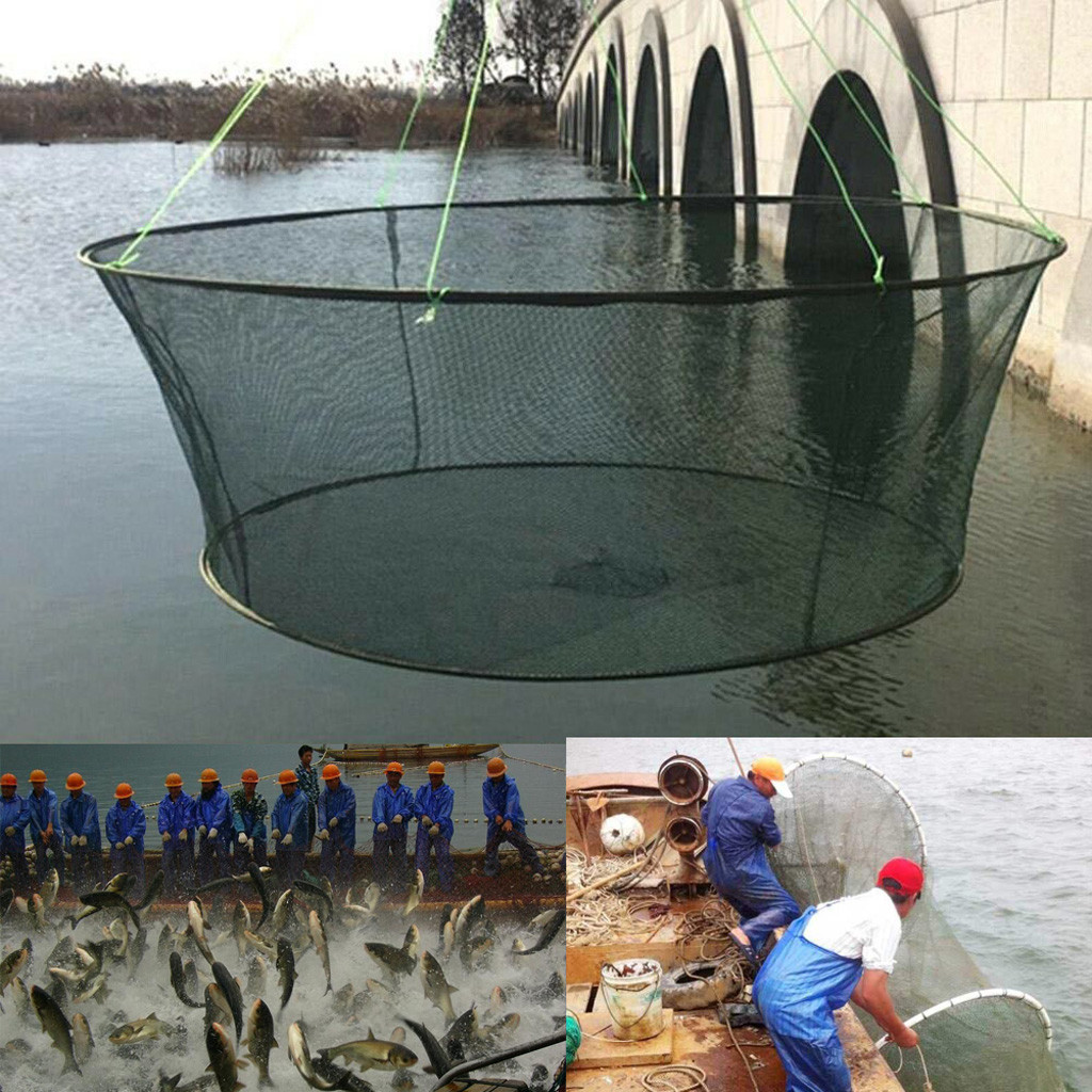 High Quality Foldable Drop Large Net Fishing Nylon Durable Landing Net Prawn Bait Crab Shrimp Fish Trap Cast Fishing Network