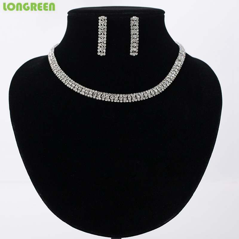 Fashion Crystal Zircon Gold Silver Necklace Earrings Women Wedding Bridal Jewelry Sets For Women Accessories