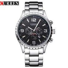 CURREN новые модные черные из нержавеющей стали ремешок Relogio мужские часы мужские наручные часы кварцевые спортивные часы водонепроницаемые Montre Homme