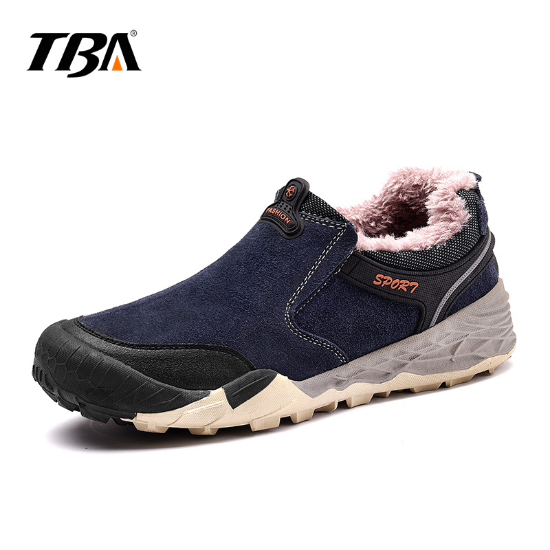 TBA Mens Winter Sneakers Genuine Leather New Tactical Shoes Men Outdoor Top Rubber Sole Fur Mountain Hiking Shoes Sport Sneakers humtto new hiking shoes men outdoor mountain climbing trekking shoes fur strong grip rubber sole male sneakers plus size