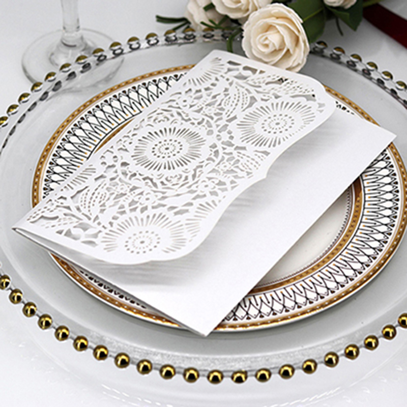 Wedding Invitations Business: 50pcs Pocket Laser Cut Wedding Invitation Card With RSVP