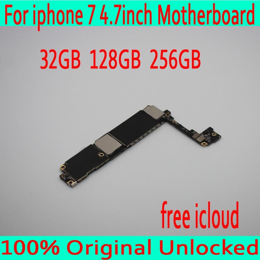 Оригинальный разблокирована для iphone 7 материнская плата без Touch ID, Бесплатная iCloud для iphone 7 платы с IOS Системы, 32 ГБ 128 ГБ 256 ГБ