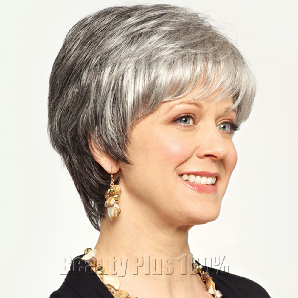 Heat Resistant Synthetic Grey Short Hair Wig Kinky Straight Short