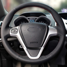 Free Shipping High Quality cowhide Top Layer Leather handmade Sewing Steering wheel covers protect For Ford Fiesta free shipping high quality cowhide top layer leather handmade sewing steering wheel covers protect for dongfeng aeolus ax7 ax5