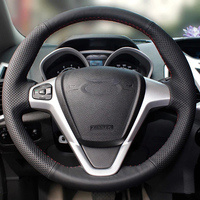 Free Shipping High Quality cowhide Top Layer Leather handmade Sewing Steering wheel covers protect For Ford Fiesta Ecosport
