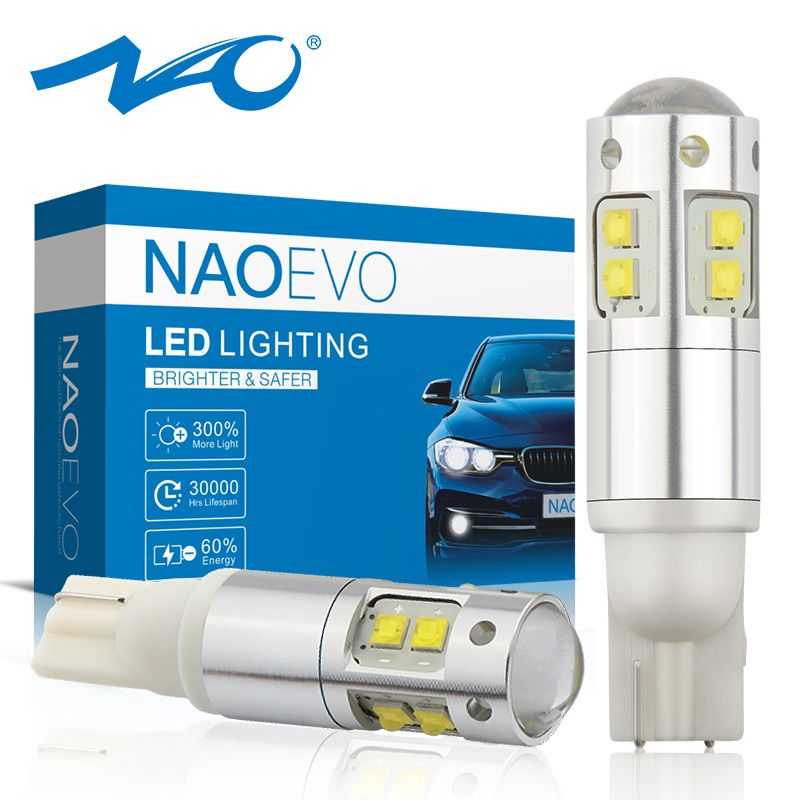NAO 2x <font><b>w5w</b></font> led <font><b>t10</b></font> led 12V <font><b>w5w</b></font> led lamp for auto <font><b>CREE</b></font> chips car interior lights Super bright bulb 3W 1000LM White Amber Red 194 image