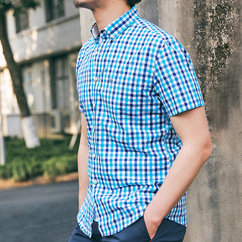 100%Cotton 2019 Black Plaid Shirt Men Shirts New Summer Fashion Chemise Homme Mans Checkered Shirt Fit Short Sleeve Tops YN10305