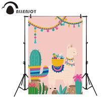 Allenjoy photography backdrop cactus party alpaca pink cartoon kid background photo studio photocall photobooth professional(China)