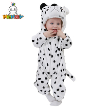 MICHLEY Unisex Baby Romper 2019 New Flannel Hooded Zipper Pyjamas Newborn Long Sleeved Warm Clothes Cartoon Cosplay Cow Costumes