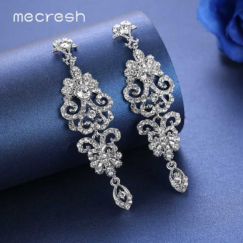 Mecresh Silver Color Crystal Wedding Drop Earrings for Women Korean Fashion Rhinestone Bridal Long Earrings Jewelry 2019 EH948