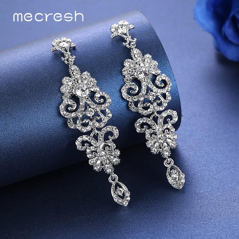 Mecresh серебряный цвет кристалл свадебные серьги для женщин корейская мода стразы свадебные длинные серьги ювелирные изделия 2019 EH948