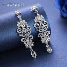 Mecresh Luxury Floral Long Drop Earrings for Women Clear Crystal Bridal Bridesmaid Hanging Brincos 2017 Wedding Jewelry MEH948
