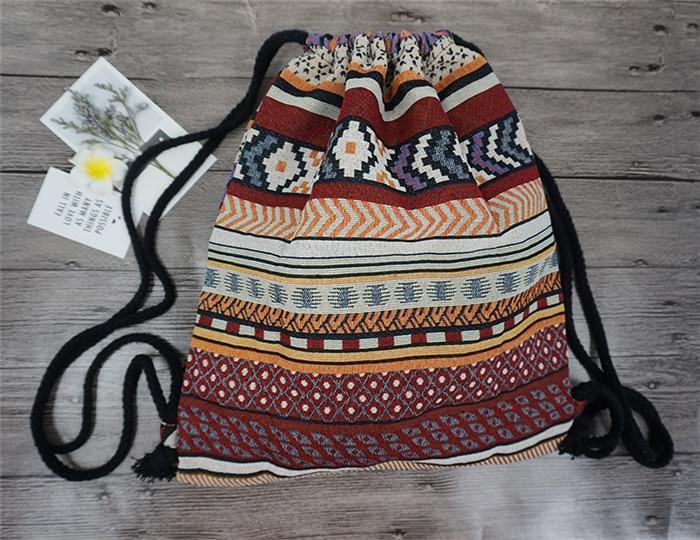 LilyHood Women Fabric Backpack Female Gypsy Bohemian Boho Chic Aztec Ibiza Tribal Ethnic Ibiza Brown Drawstring Rucksack Bags