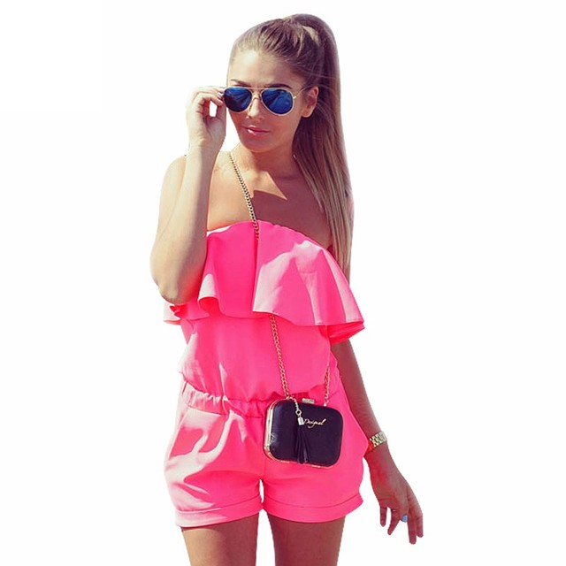 de2af08c9564 Sexy Women Off Shoulder Ruffles Pink Playsuits Casual Beach Style Jumpsuit  Rompers Women High Waist Boho Summer Overalls  87945