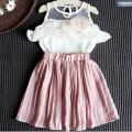 New Brand Girls Clothes Summer Children White Chiffion Shirt With Pink Skirt Flower Trimming Kids Clothing Suit High Quality Set