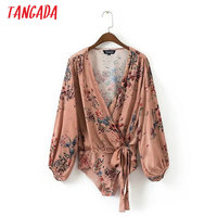 Tangada Fashion Women Floral Print Body Blouse Sexy Deep V-neck Bow Bodysuit Shirt Long Sleeve Playsuit Tops XD13