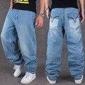 2016 New American Fashion Baggy Hip Hop Denim Jeans de Marca Famosa diseñador de Ropa de Calle Loose Fit Pantalones de Mezclilla Más El Tamaño 44 46