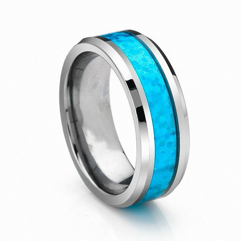 6mm 8mm Vintage Opal Tungsten Carbide Rings Infinity Mens Wedding