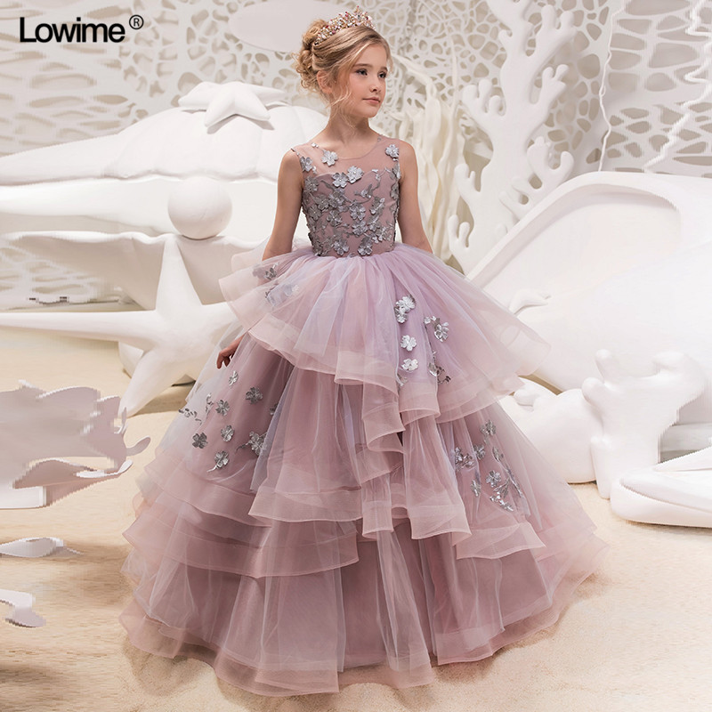 Cusrom Made Empire Scoop   Flower     Girl     Dresses   With   Flowers   Appliques Lace Tiered   Flower     Girl     Dresses   For Weddings
