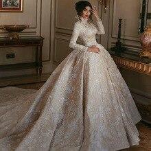 2019 יוקרה גבוהה צוואר שמפניה מזרח התיכון חתונה שמלה לבן תחרה Appliqued ארוך שרוולי ערבית כלה שמלות משפט רכבת