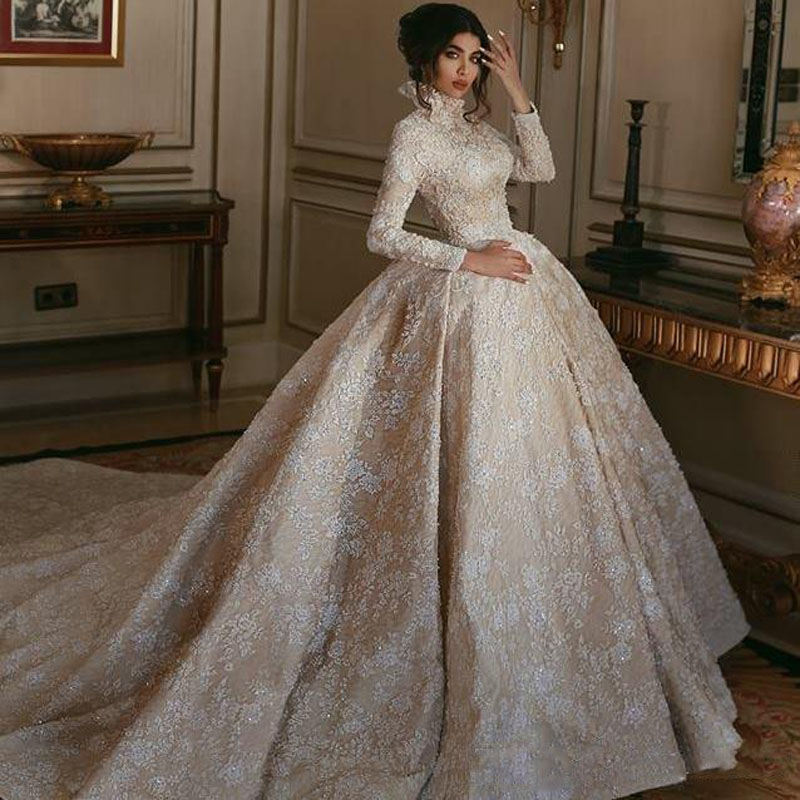 2019 Luxury High Neck Champagne Middle East Wedding Dress White Lace Appliqued Long Sleeves Arabic Bridal Gowns Court Train