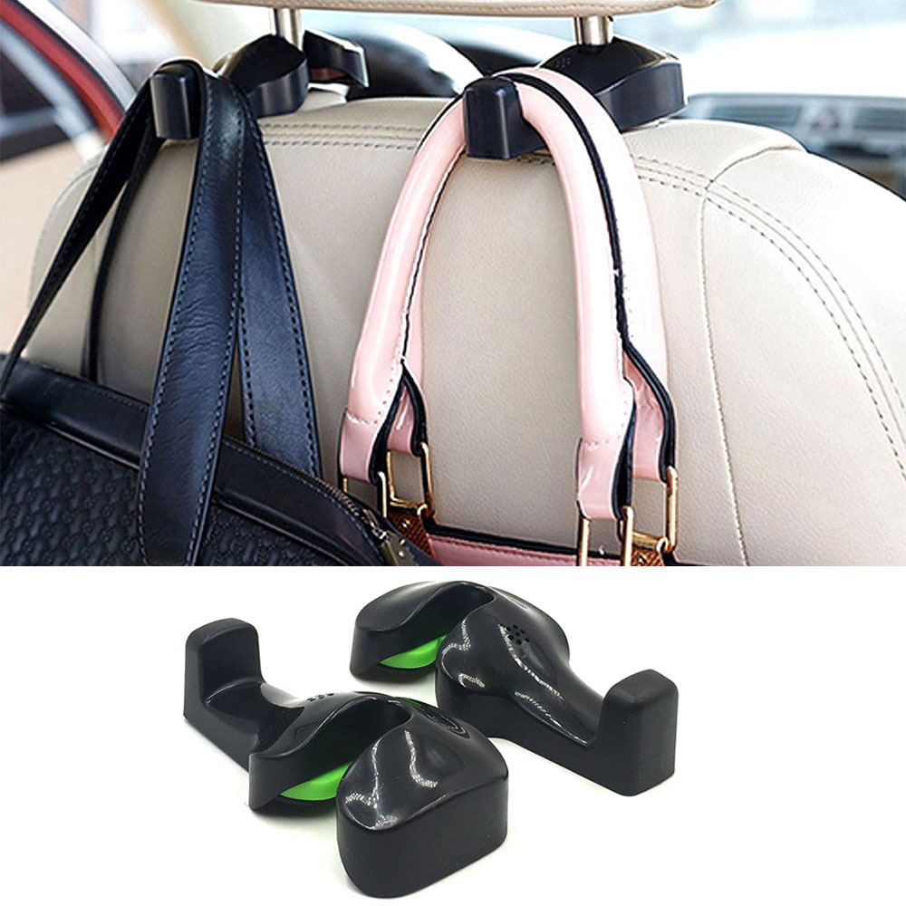 1 Pair Car Seat Bag Hook Headrest Hanger Holder for Coat Purse Bags 360 Degree Rotate Universal Auto Car Back Seat Hook Clips