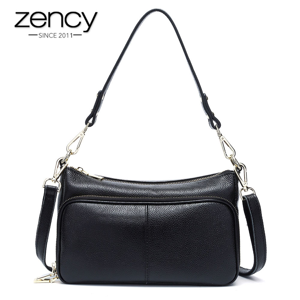 Zency Elegant Women Handbag 100 Genuine Leather Ladies Shoulder Bag Crossbody Messenger Purse Fashion Hobos Black