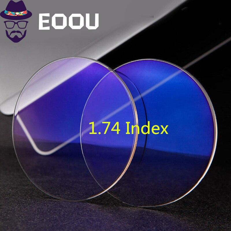 EOOUOOE 1.74 indice résine asphérique lunettes myopie hyperopie presbytie lunettes Transpar Lente Gafas Prescription 2 pièces lentilles
