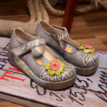 Vintage handmade genuine leather women's shoes platform thick heel casual spring and autumn single shoes